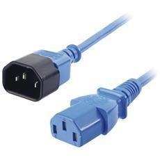 IEC C14 / IEC C13 M / F 1m, IEC C14, IEC C13, Maschio / femmina, Nero, Blu