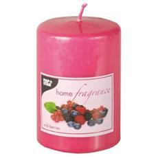 Candela al Profumo con Testa Piatta di Frutti di Bosco Colore Rosa 10 cm da 100 Ml