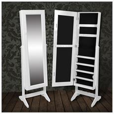 Armadietto Portagioielli Autoportante Con Specchio Bianco
