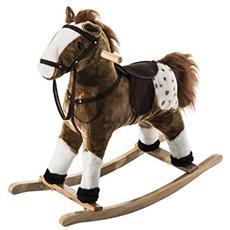 Cavallo a dondolo in legno con suono animale regalo giocattolo per i bambini 74 x 28 x 65cm marrone