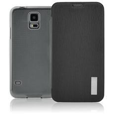 Crystal Slim Custodia a Libro con Back Trasparente per Galaxy S5 / S5 Neo Colore Nero