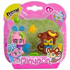 Pinypon - 2 Cuccioli - Farfalla E Scimmia