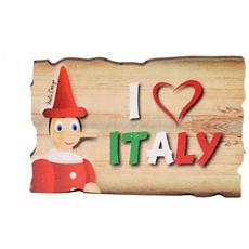 """Targhetta in legno con magnete """"Io amo l'Italia"""""""