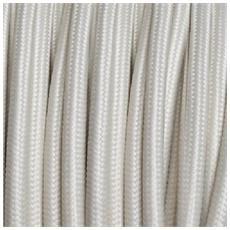 3 Mt Cavo Elettrico Tondo Rotondo Stile Vintage Rivestito In Tessuto Colorato Avorio H03vv-f Sezione 2x0,75 Per Lampadari, Lampade, Abat Jour, Design. Made In Italy