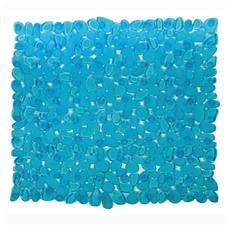 Tappeto bagno azzurro con ventose antiscivolo e antimuffa Pvc cm 69x36