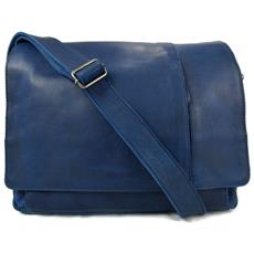 Borsa Pelle Notebook Porta Ipad Porta Laptop In Pelle Blu Messenger Uomo Donna