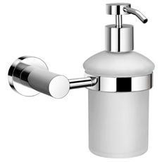 Portasapone Bagno Dispenser in Vetro Opaco Supporto e Dosatore Cromo