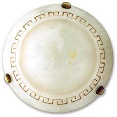 01/01012 - Plafoniera dalla forma tonda con greca rossa decorativa 60 watt E27