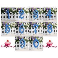 Candela Numerale In Cera Glitterata Azzurra Per Torta Compleanno - 9