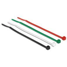 Kabelbinder 100 mm farbig, 200 Stk. [50x Weiß, 50x Schwarz, 50x Grün, 50x Rot] , Nero, Verde, Rosso, Bianco