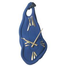 Orologio da parete ''Muro'' in resina decorata a mano Meccanismo al quarzo tedesco UTS Dimensione 45x20x5 Colore blu opaco