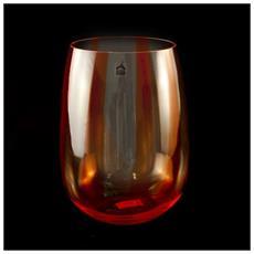 Vaso In Vetro Trasparente Cm 33 Riga Rossa - 17-5807b
