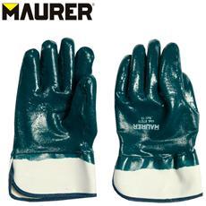 Paio di guanti da lavoro in nitrile fodera cotone con manichetta Tg 10