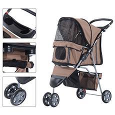 Passeggino per cani carrello per animali domestici carrello carrozzina caffè 75 x 45 x 97cm