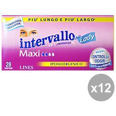 Set 12 Intervallo Maxi Distantaneo X 28 Pezzi Salvaslip Cura Del Corpo
