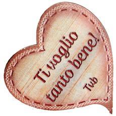 targhetta in legno Cuore con magnete Ti voglio bene! Tvb