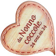 targhetta in legno Cuore con magnete da Nonno coccole