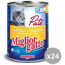Set 24 400 Gr. Umido Patè Pollo-tacchino Cibo Per Animali