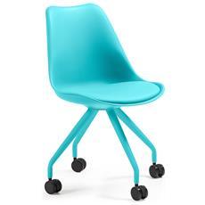 Ralf Sedia Con Ruote Seduta Plastica Azzurra