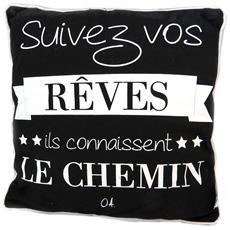 creatore cuscino cita nero (seguire i tuoi sogni sanno che il modo in cui) - 38 cm - [ p1431]