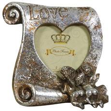 Coppia Portafoto Love Da Appoggio In Resina Finitura Argento Anticata L16xpr4xh17 Cm