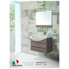 Mobile bagno largo 80 cm sospeso rovere scuro con specchio Magic-80