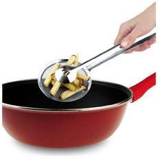 Pinza Con Colino Scolafritto Scola Fritto Frittura Forata A Retina Paletta Patatine Acciaio Inox Cucina Utensili