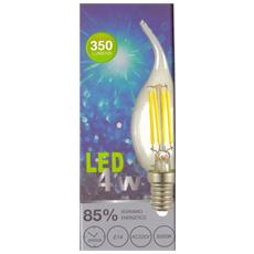 Set 4 Pezzi Lampadina E14 Fiamma Aperta Filamento Led 4w Luce Bianco Naturale 5000k Lampada 350lm Classe Energetica A