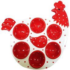 Porta Uova Portauova Uove In Ceramica 6 Posti Gallina Pois Pasqua Addobbi Decorazioni Ovetti Colore Casuale