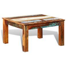 Tavolino Quadrato Da Caffè In Legno Riciclato Stile Antico