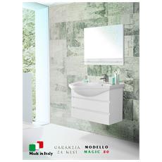 Mobile bagno largo 80 cm sospeso bianco laccato con specchio Magic-80