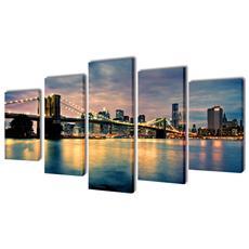 5 Pz Set Stampa Su Tela Da Muro Vista Sul Ponte Di Brooklyn 100 X 50cm