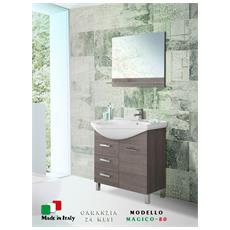 Mobile bagno 80 cm rovere scuro con specchio, lavandino in ceramica Magico-80