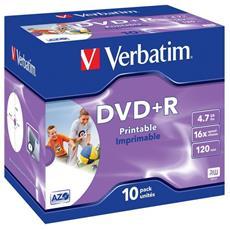 DVD+R Stampabile Capacità 4,7 Gb Velocità Scrittura 16 x