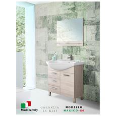 Mobile bagno 80 cm rovere chiaro con specchio, lavandino in ceramica Magico-80