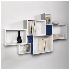 Set 6 Cubi Da Parete Mosaiko Laccato Grigio Blu Bianco