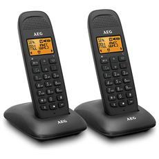 Doppio Telefono Cordless DECT con Identificatore di Chiamata e Vivavoce Colore Nero