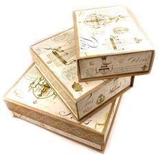 set di 3 keepsake nidi 'belle epoque' taupe beige - [ l2189]