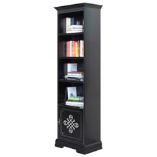 Libreria In Legno Laccata Nera Con Fregio Argentato, L: 58 - H 193,5 Cm