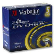 DVD+RW 4 x 4.7GB Advanced SERL 5 Pezzi Jewel Case