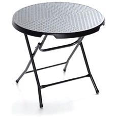 Tavolo tondo pieghevole cm 80 per bar e giardini in resina