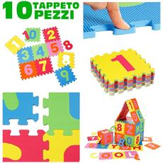 Tappeto Per Bambini Da Pavimento 10 Pz Puzzle Neonato Antiurto Atossico Lavabile