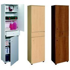 Mobile cassettiera multiuso a colonna con due ante quattro ripiani ed un cassetto
