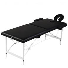 Lettino Pieghevole Da Massaggio Nero 2 Zone Con Telaio Alluminio