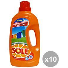 Set 10 Lavatrice Liquido 20 Mis. Colorati 1,3 Lt. Detergenti Casa