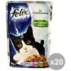 Set 20 Le Ghiottonerie Coniglio 100 Gr. Bustina Cibo Per Gatti
