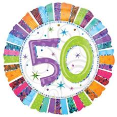 Palloncino Compleanno Mylar 50 Anni Radial 45 Cm *24249