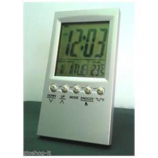 Mini Sveglia Diglitale Lcd Da Viaggio Ultra Slim Con Termometro & Snooze