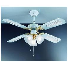 7060B Ventilatore da Soffitto 4 Pale Diametro 105 cm con Kit Luce Colore Bianco