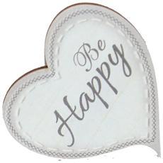 Targhetta in legno Cuore con magnete line Shabby Be Happy